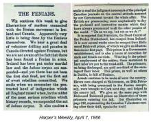 Harper's Weekly April 7th 1866 article which goes to the the Canadian Volunteer sketch in that week's edition.