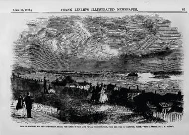 Frank Leslie's April 28, 1866, This sketch show a very passion and tranquil scene where couple come to view the over look at the border where the Fenian Action took place. This sketch was published in a very short time of 10 days from after the action took place. Frank Leslie's Newspaper beat all their newspaper rivals in reporting on what happened a week before, which made the Harper's Weekly and the Illustrated London News publish their own sketch of that breaking news on the Fenian Brotherhood landing on British soil to twist the lions tail.